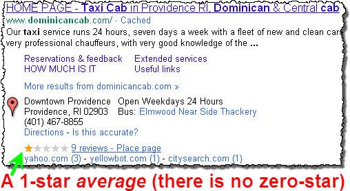 A 1-star average customer rating