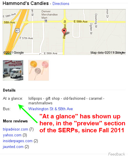 """At a glance"" in preview area of Google Places local results"