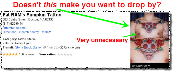 Bad Google Places photo: a bare-chested guy with a tattoo