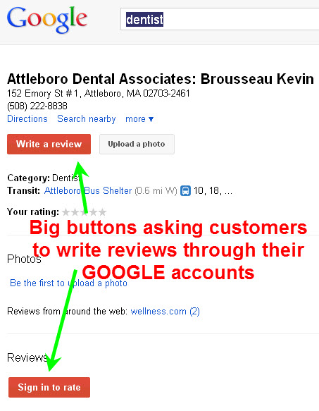 BIG buttons for customers to write reviews w/ their Google account s