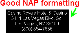 NAP: Name, Address, Phone # at the bottom of your webpages