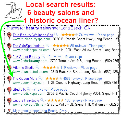 Seemingly irrelevant local search results