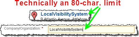 Google Places business name--aka title, aka Company/Organization field
