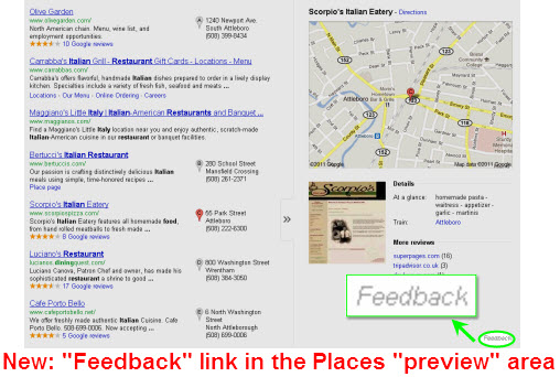 "The new ""Feedback"" link in Google Places"