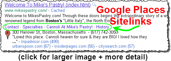Google Places sitelinks