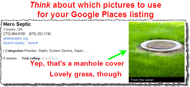 Boring Google Places photo: a manhole cover
