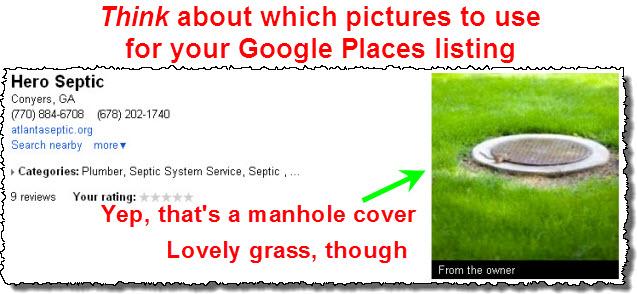 Boring Google Places photo: a manhole cover