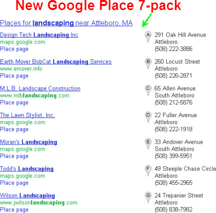 New Google Places 7-pack: larger & with gray map pins