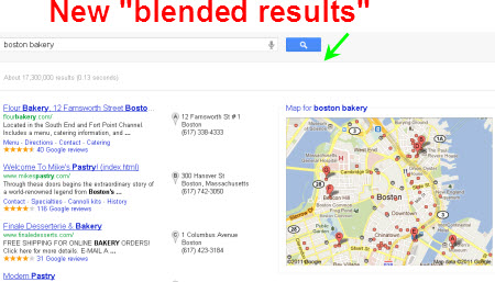 "New ""blended"" local search results layout"