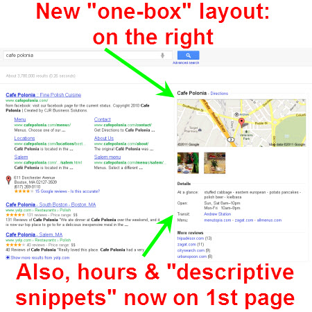 test new google places one box layout and map size