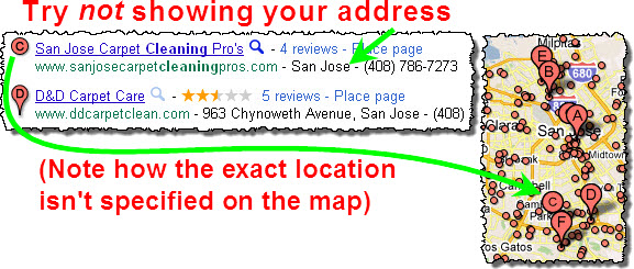 """Your location won't appear as a """"pin"""" on the local Google map"""