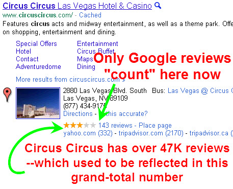 New: total review numbers no longer include non-Google reviews
