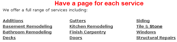 Have a page for each service you offer - esp. if you run out of categories