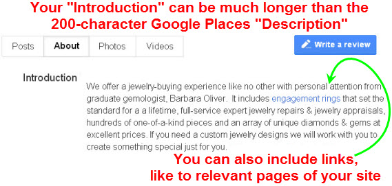 Your business description now can be more detailed and can include links