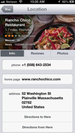 "A ""Jony Ivesian"" Apple Maps local business listing"