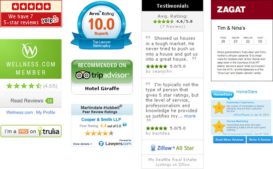 Badge Website list of review widgets and badges for your local business