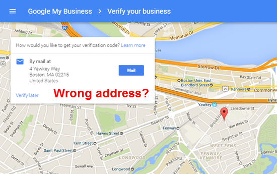 Google My Business Mails Verification Postcard to the Wrong Address