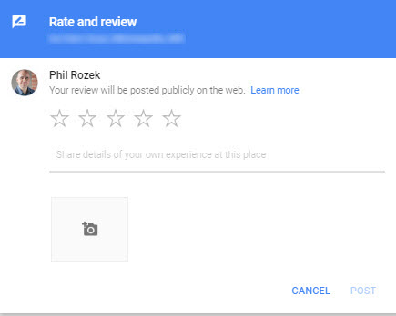 how to get a google review address