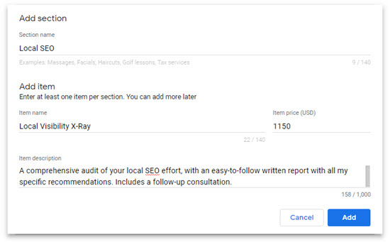 Google My Business Now Lets You Specify A List Of Services